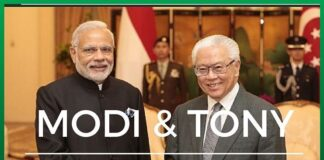 Modi and Singapore President meet after ceremonial welcome