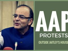 AAP holds protests outside Jaitley's house
