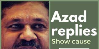 Azad replies to BJP's Show cause notice