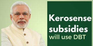 Kerosene subsidy will be deposited directly into household bank accounts