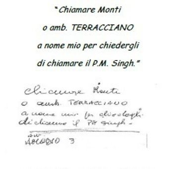 Handwritten note by Orsi to call PM Singh