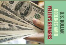 U.S. dollar declines amid Yellen's remarks