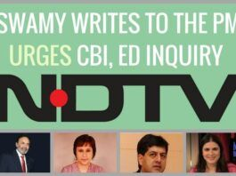 Swamy writes to the PM seeking an investigation into NDTV by the CBI and the ED