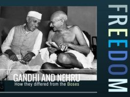 A contrast in study of how Gandhi and Nehru approached freedom for India from the Boses