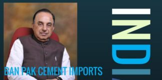 Swamy makes a strong case for a ban on import of cement from Pakistan