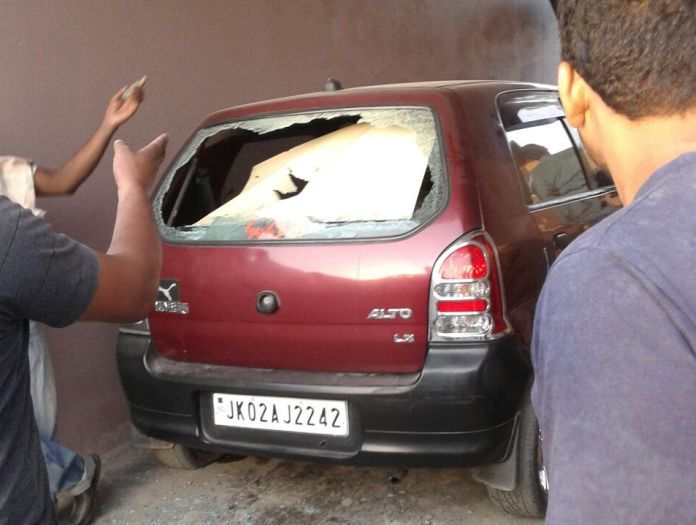 A car parked inside a house suffered the brunt of Pak firing
