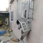 Wall of a house was pierced by a mortar shell in RS Pura sector