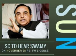 Swamy will be in the Supreme Court on Nov 28 to request court to cancel FM license to Sun Group