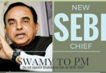 Swamy writes to the PM, urges him not to consider Shaktikanta Das for the post of SEBI Chief.
