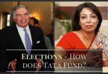A conversation between Tata employee and Niira on how Tata funds political parties covertly