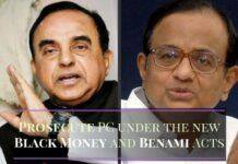 Swamy writes to the PM asking him to prosecute P Chidambaram under the new Black Money and Benami Acts
