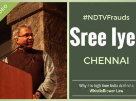 A WhistleBlower Law is the need of the hour for India, says Sree Iyer at the Book release function of his book NDTV Frauds