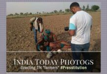 "In a clear instance of Presstitution, images have surfaced of India Today photographers directing ""farmers"" from Tamil Nadu to pose with skulls"