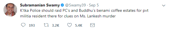Dr. Swamy tweets, suggesting clues in Gauri murder