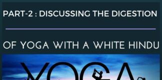 Discussing yoga with white Hindu