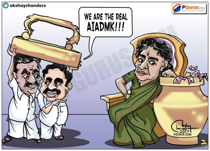 Does the cartoon portray the inner dynamics of AIADMK? What do you think?