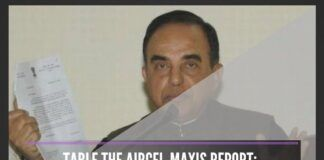 Outgoing CAG with the help of pliant officials hushed up Aircel-Maxis scam report, alleges Swamy