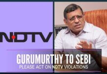 Gurumurthy writes to SEBI Chairman, urges action against NDTV