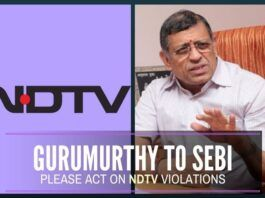 Gurumurthy writes to SEBI Chairman, urges action against NDTV