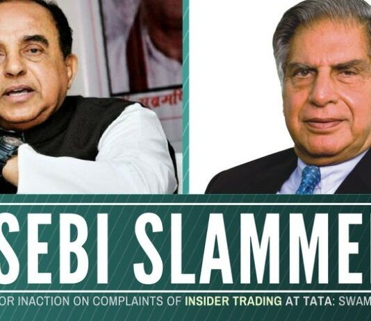 Swamy puts SEBI Chairman on the spot; accuses him of glossing over complaints of insider trading at Tata Group