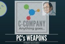 Using C-Company and 2 other weapons, Chidambaram amassed a fortune from the Stock Market