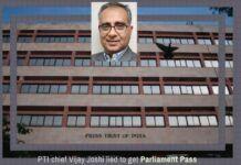 What made Vijay Joshi lie to get a Parliament Pass?