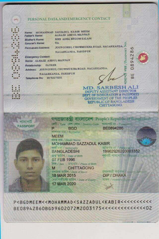 Md. Kabir Bangladesh passport