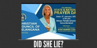 Anne Graham Lotz needs to come clean on what she stated while applying for her visa to India
