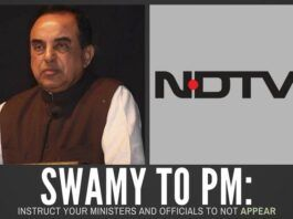 In a letter to the PM, Swamy urges him to restrain his ministers and officials from giving interviews to NDTV till it pays its dues or is exonerated