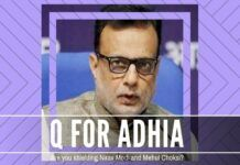 In the PNBScam of Nirav Modi and Mehul Choksi, Adhia seems to have more questions about his conduct