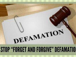 "TIME TO STOP ""FORGET AND FORGIVE"" DEFAMATION CASES"