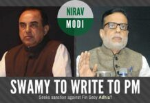 Swamy to write to the PM to prosecute a senior Finance Ministry official without naming him but all hints point to Adhia