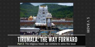 The author makes an excellent suggestion on how the religious heads should come together to take Tirumala forward