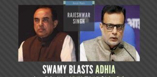 Swamy takes aim at Fin Sec Hasmukh Adhia and accuses him of trying to save Chidambaram