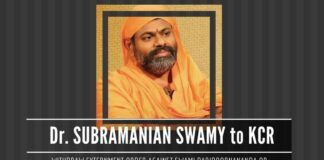 Dr. Subramanian Swamy writes to KCR, warns of consequences if the order of externment against Swami Paripoornananda are not cancelled