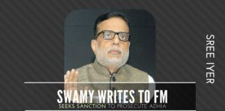 Will the Finance Minister act on the letter from Swamy seeking sanction to prosecute Adhia?