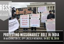 Press Release for DC rally held on Dec 16th at Lincoln Memorial highlighting Christian missionary menace in India with views of Mahatma Gandhi and the connection of missionary activity to assault on Sabarimala.