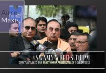 Swamy writes to the Prime Minster, urges him to direct Jaitley to provide Sanction for Prosecution against five officers in Aircel-Maxis case