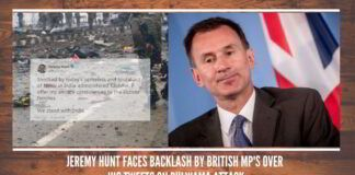 Jeremy Hunt faces backlash by British MP's over his tweets on Pulwama attack