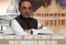 Ram Mandir Case - Swamy puts forth 7 arguments for his Fundamental Right to pray