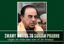 Quoting the shady deals UPA did to mollify the Emir of Abu Dhabi, Swamy writes to Suresh Prabhu urging takeover of Jet by Air India