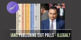 On the off-chance that UPA-led coalition might form Govt., is ADAG currying favor by publishing exit polls via IANS illegally?