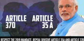 Respect the 2019 mandate, repeal divisive Article 35A and Article 370