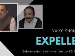 Swamy writes to RS Chairman citing some of the objectionable speeches of Vaiko on why he should be expelled from Rajya Sabha