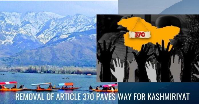 Removal of Article 370 paves way for Kashmiriyat