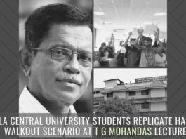 Kerala Central University students replicate Harvard walkout scenario at TG Mohandas lecture