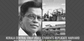 Kerala Central University students replicate Harvard walkout scenario at TG Mohandas lecture