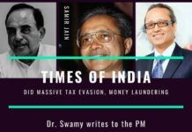 Subramanian Swamy writes to the PM, accusing the Times of India Group of tax evasion and money laundering