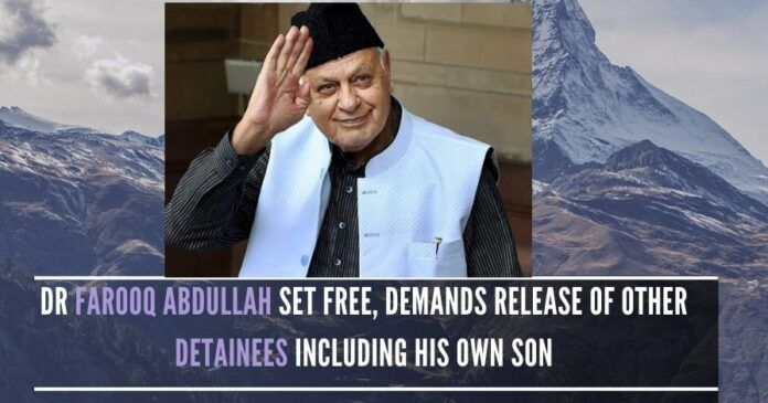 Dr. Abdullah's release is seen as another major political development in Jammu and Kashmir