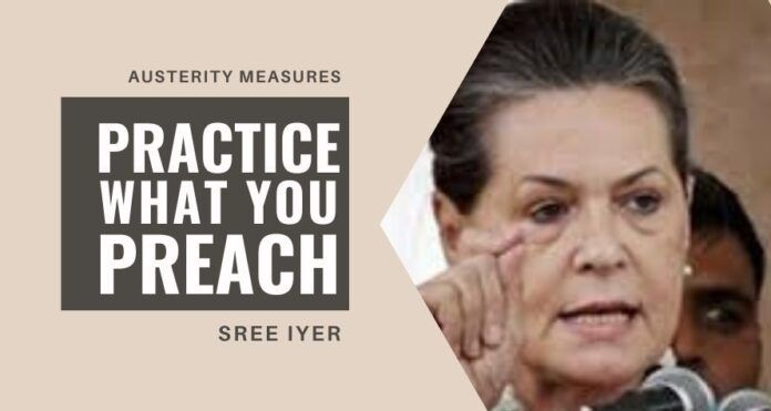 Sonia Gandhi should first give back the National Herald properties and back taxes before preaching austerity measures to the GOI